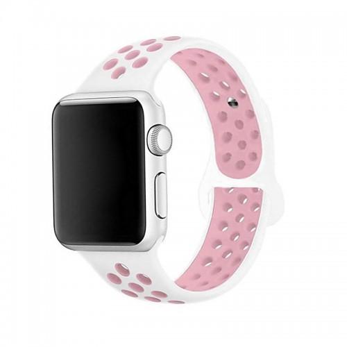 Ανταλλακτικό Λουράκι OEM Softband για Apple Watch 42/44mm (Άσπρο-Ροζ)
