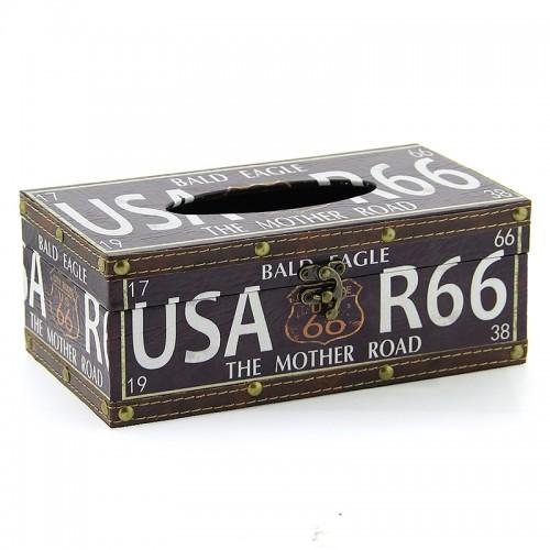 Ξύλινο Κουτί για Χαρτομάντηλα USA R66 Bald Eagle (Design)