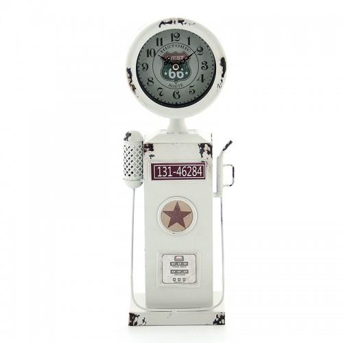 Vintage Μεταλλικό Ρολόι Αντλία Βενζίνης 131-46284 (Άσπρο)
