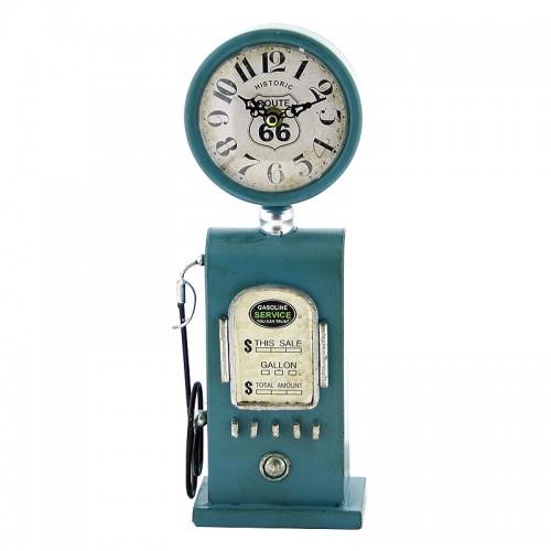 Vintage Μεταλλικό Ρολόι Αντλία Βενζίνης Gasoline Service (Γαλάζιο)
