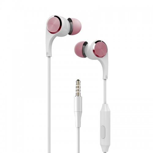Ακουστικά Handsfree Yookie YK910 (Άσπρο-Ροζ)