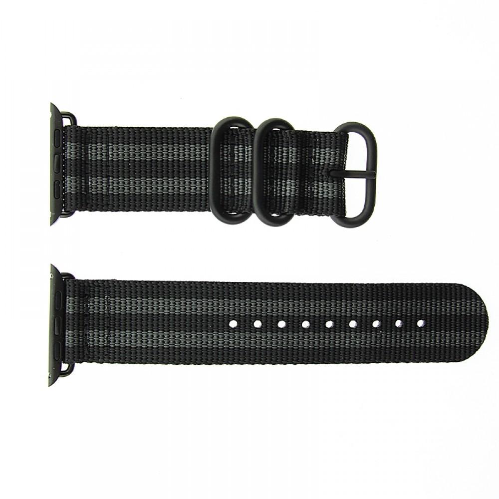 Ανταλλακτικό Λουράκι OEM Υφασμάτινο για Apple Watch 42/44 mm Nato Strap (Μαύρο-Γκρι)
