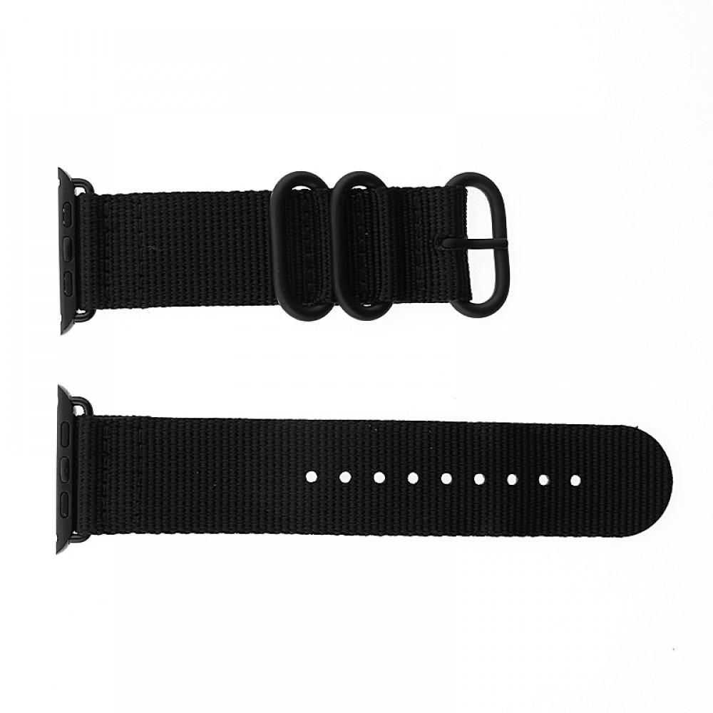 Ανταλλακτικό Λουράκι OEM Υφασμάτινο για Apple Watch 42/44 mm Nato Strap (Μαύρο)