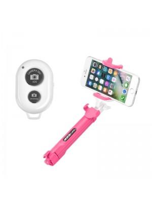 Τρίποδας και Selfie Stick Bluetooth Blun 60cm (Ροζ)