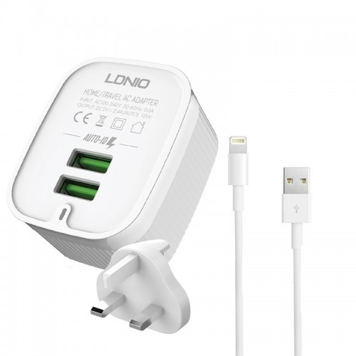 Φορτιστής Ταξιδιού LDNIO με Αγγλική Πρίζα A201 με 2 Θύρες USB 2.4A & Καλώδιο Lightning (Άσπρο)
