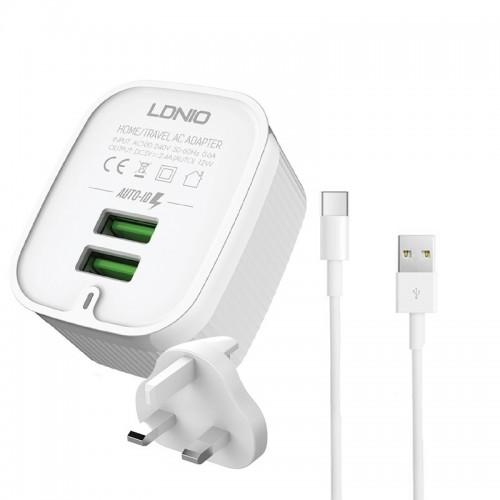 Φορτιστής Ταξιδιού LDNIO με Αγγλική Πρίζα A201 με 2 Θύρες USB 2.4A & Καλώδιο Type-C (Άσπρο)
