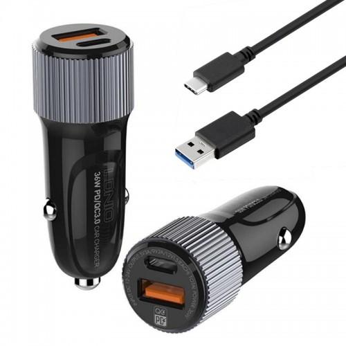 Φορτιστής Αυτοκινήτου LDNIO C510Q με 2 Θύρες USB / Type-C και καλώδιο USB to Type-C (Μαύρο)