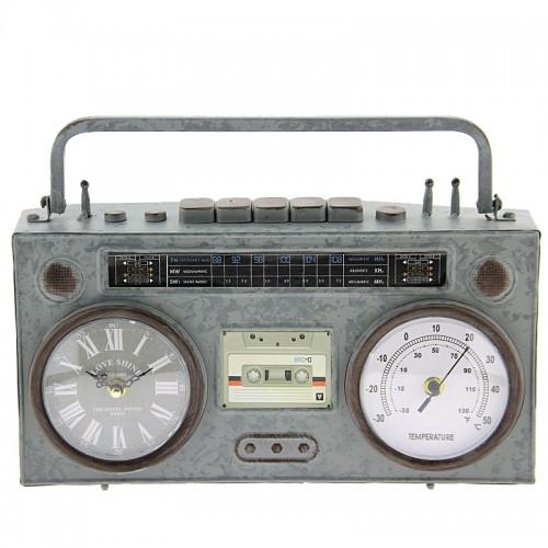 Μεταλλικό Διακοσμητικό Ρολόι Σε Σχήμα Κασετόφωνο (Γκρί)