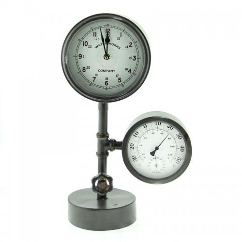 Μεταλλικό Ρολόι Βιομηχανικού Τύπου (Γκρί)