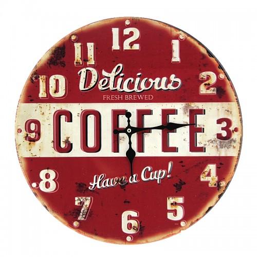 Μεταλλικό Ρολόι Τοίχου Delicious Coffee (Κόκκινο