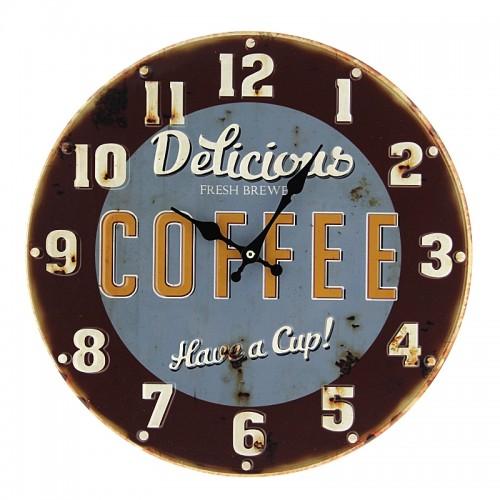 Μεταλλικό Ρολόι Τοίχου Delicious Coffee (Μπλε)