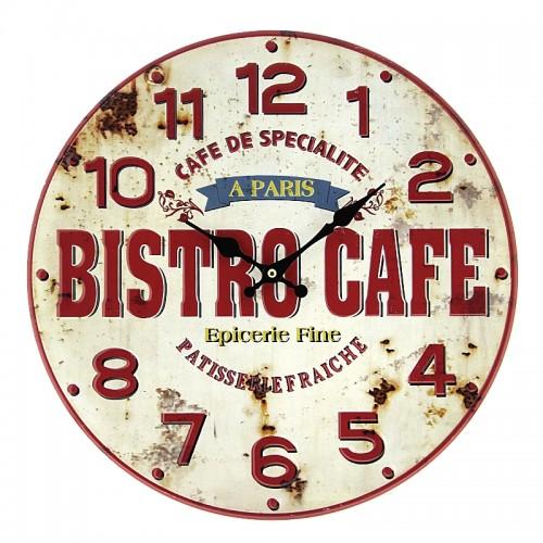 Μεταλλικό Ρολόι Τοίχου Bistro Cafe (Άσπρο)