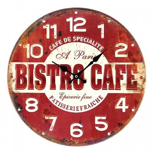 Μεταλλικό Ρολόι Τοίχου Bistro Cafe (Κόκκινο)