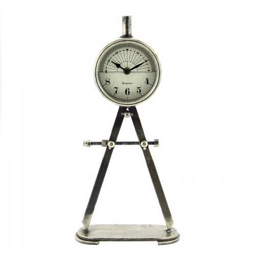 Μεταλλικό Επιτραπέζιο Ρολόι σε Σχήμα Διαβήτη (Ασημί)
