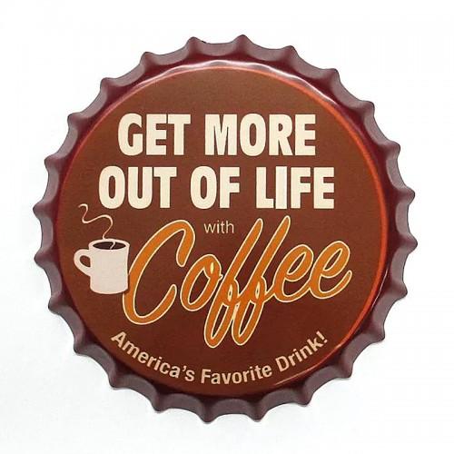 Διακοσμητικό Τοίχου Καπάκι Get More Out Of Life with Coffee (Design)