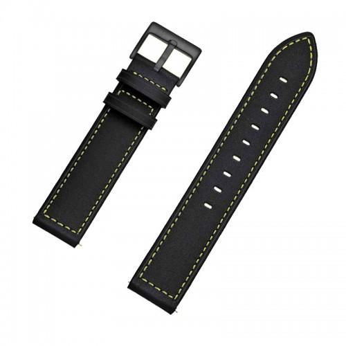 Ανταλλακτικό Λουράκι OEM Δερμάτινο με Σιλικόνη και Nato Strap για Samsung Gear S3 22mm (Μαύρο)