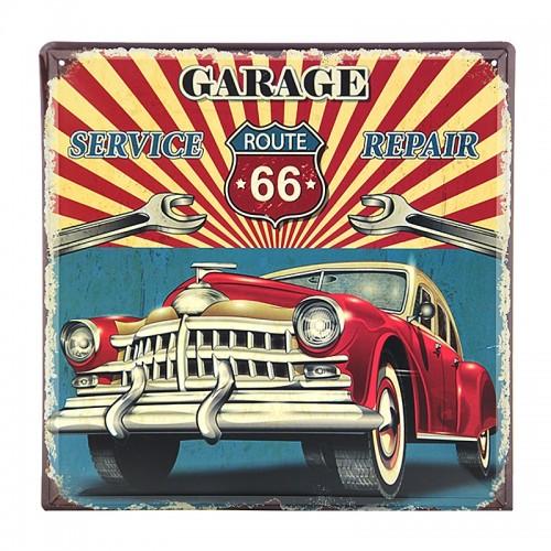 Μεταλλική Διακοσμητική Πινακίδα Τοίχου Route 66 Garage 30X30 (Design)