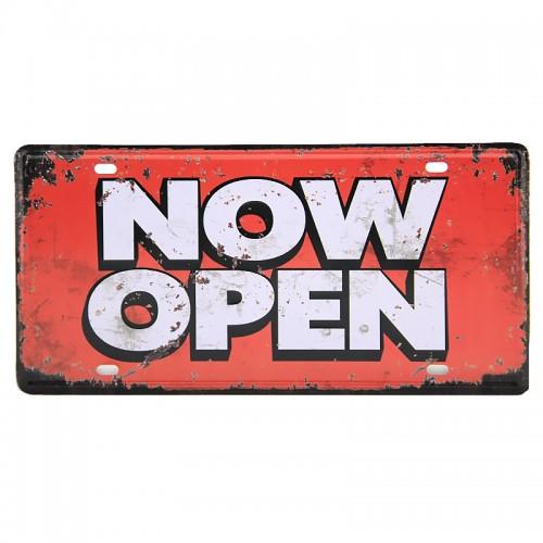 Μεταλλική Διακοσμητική Πινακίδα Τοίχου Now Open 15X30