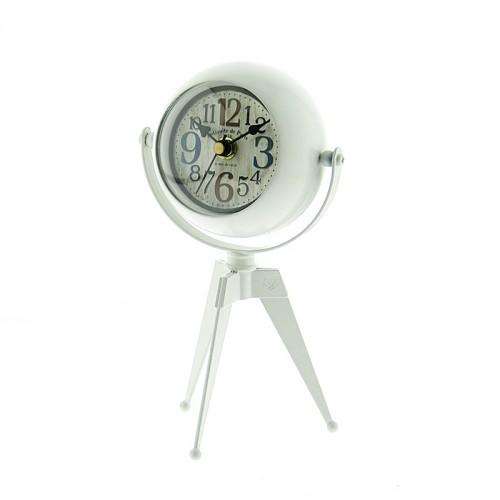 Μεταλλικό Επιτραπέζιο Διακοσμητικό Ρολόι με Καθρέφτη (Άσπρο)
