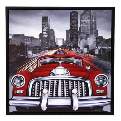 Διακοσμητικό Κάδρο 59x59 Red Car in New York (Design)