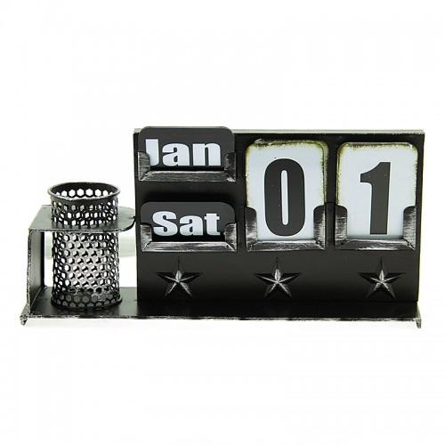 Επιτραπέζιο Μεταλλικό Διακοσμητικό Ημερολόγιο F33B (Μαύρο)