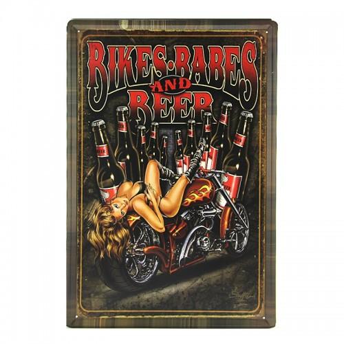 Μεταλλική Διακοσμητική Πινακίδα Τοίχου Bikes Babes 40X60