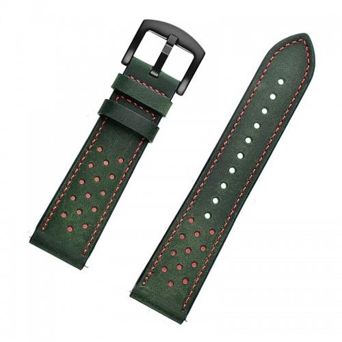 Ανταλλακτικό Λουράκι OEM Δερμάτινο με Nato Strap για Samsung Gear S3 22mm (Πράσινο-Κόκκινο)