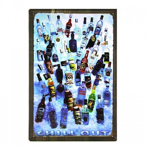 Μεταλλική Διακοσμητική Πινακίδα Τοίχου Vodka 40X60