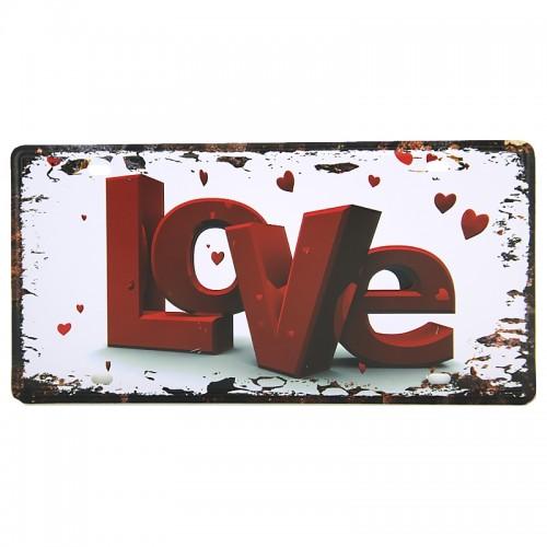 Μεταλλική Διακοσμητική Πινακίδα Τοίχου Love Poster 15X30