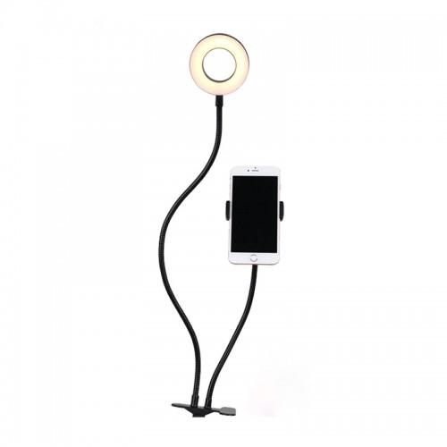Mini LED Ring Light με Βάση Στήριξης Κινητού για Selfie και Κλιπ (Μαύρο)
