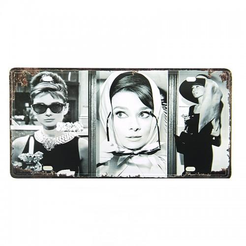 Μεταλλική Διακοσμητική Πινακίδα Τοίχου Vintage - Audrey Hepburn 15X30 (Design)