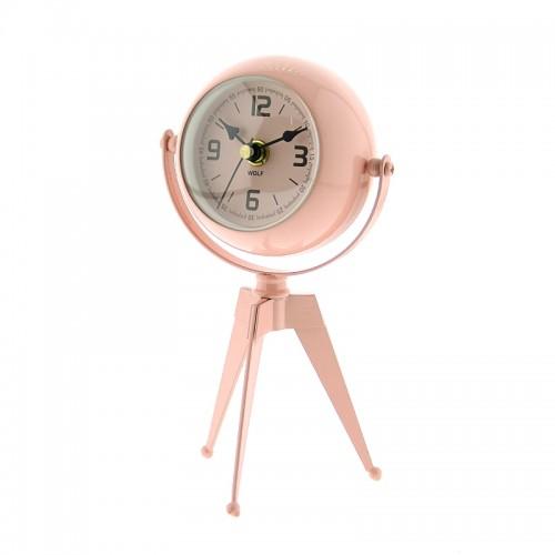 Μεταλλικό Επιτραπέζιο Διακοσμητικό Ρολόι με Καθρέφτη (Ροζ)