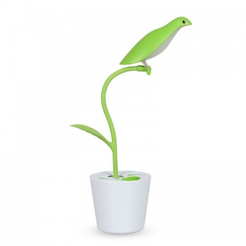 Φωτιστικό Μολυβοθήκη σε Σχήμα Γλάστρα με Πουλί (Πράσινο)