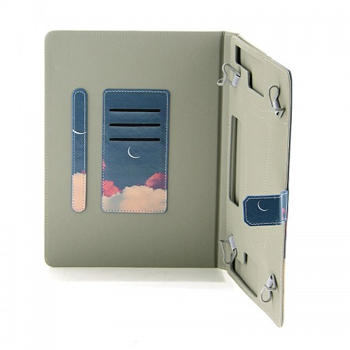 Θήκη Tablet Pink Clouds and Crescent Moon Flip Cover για Universal 7-8'' (Design)