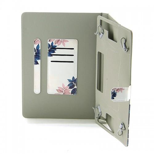 Θήκη Tablet Pink and Blue Leaves Flip Cover για Universal 7-8'' (Design)