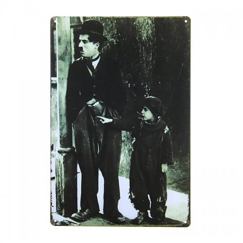 Μεταλλική Διακοσμητική Πινακίδα Τοίχου The Kid - Charlie Chaplin 20X30 (Design)