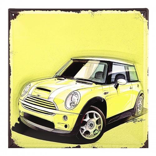 Μεταλλική Διακοσμητική Πινακίδα Τοίχου Yellow Car 30X30 (Design)