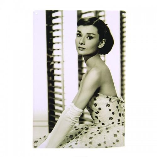 Μεταλλική Διακοσμητική Πινακίδα Τοίχου Roman Holiday - Audrey Hepburn 20X30 (Design)