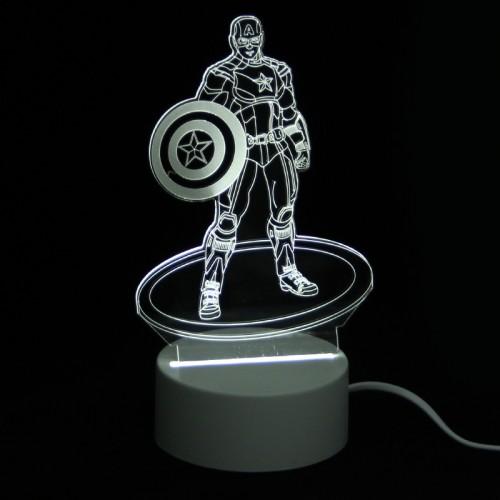 Επιτραπέζιο 3D Φωτιστικό LED σε Σχήμα Captain America (Άσπρο)