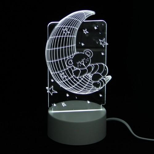 Επιτραπέζιο 3D Φωτιστικό LED σε Σχήμα Teddy Bear on the Moon (Άσπρο)
