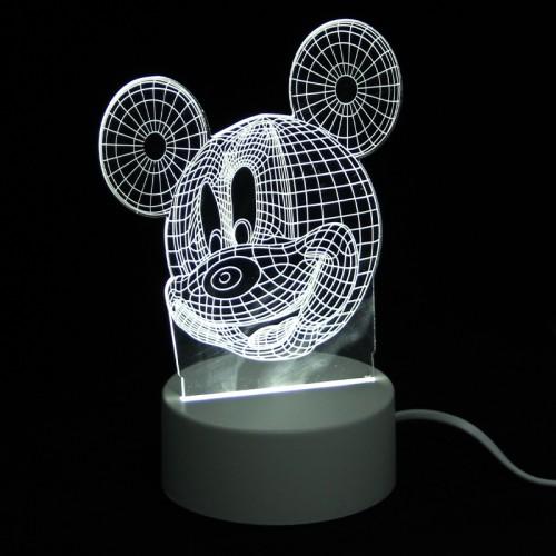 Επιτραπέζιο 3D Φωτιστικό LED σε Σχήμα Mickey Mouse (Άσπρο)