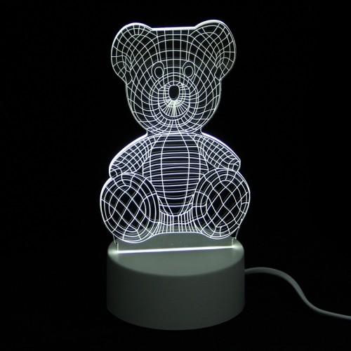 Επιτραπέζιο 3D Φωτιστικό LED σε Σχήμα Teddy Bear (Άσπρο)