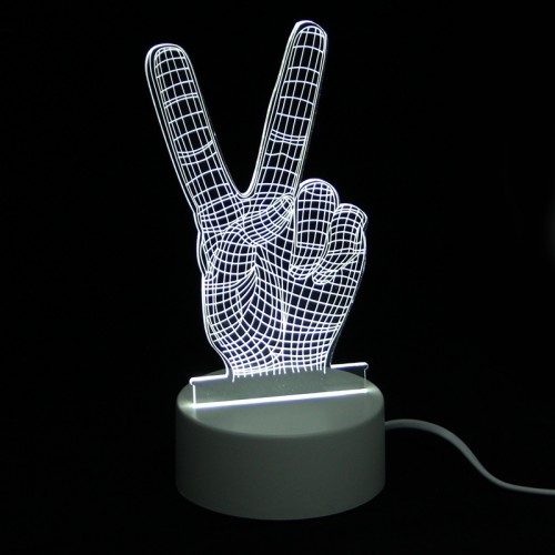 Επιτραπέζιο 3D Φωτιστικό LED σε Σχήμα V Sign (Άσπρο)