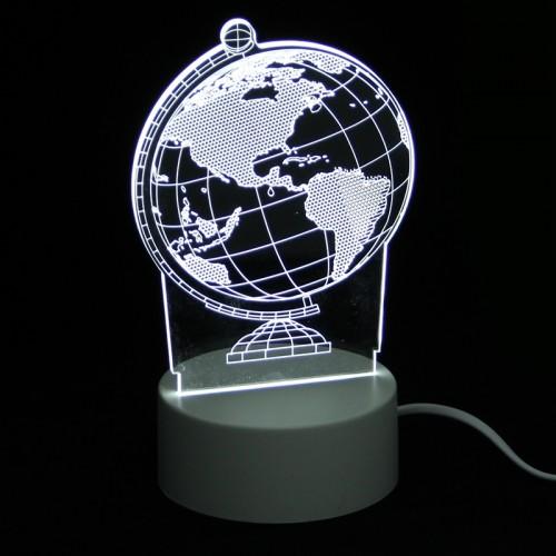 Επιτραπέζιο 3D Φωτιστικό LED σε Σχήμα Globe (Άσπρο)