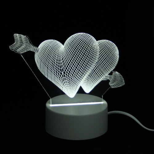 Επιτραπέζιο 3D Φωτιστικό LED σε Σχήμα Two Hearts and Arrow (Άσπρο)