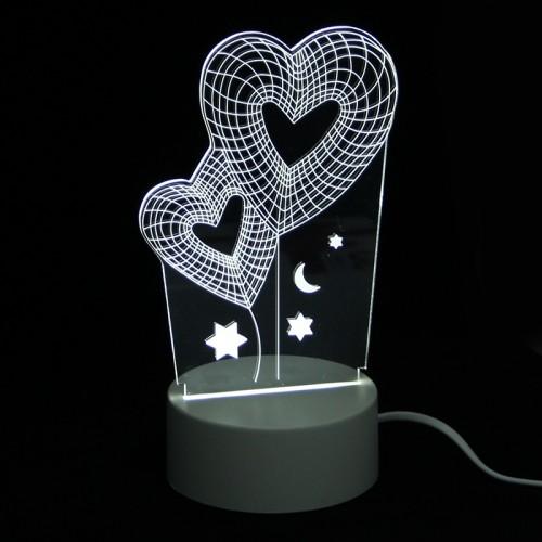 Επιτραπέζιο 3D Φωτιστικό LED σε Σχήμα Two Hearts and Snow (Άσπρο)