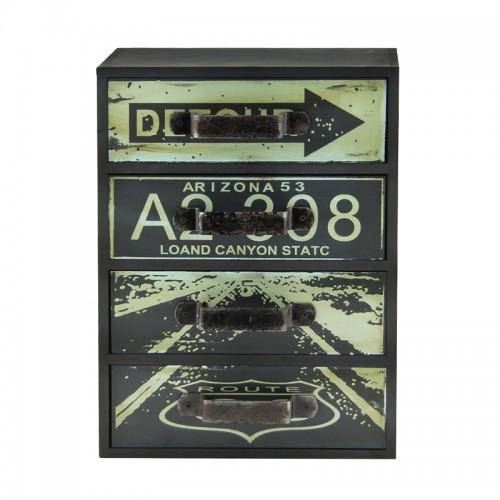 Ξύλινη Συρταριέρα με 4 Αποθηκευτικούς Χώρους Route 66 (Design) (
