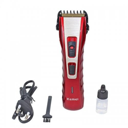 Επαναφορτιζόμενη Κουρευτική Μηχανή Kemei KM-519A (Κόκκινο)