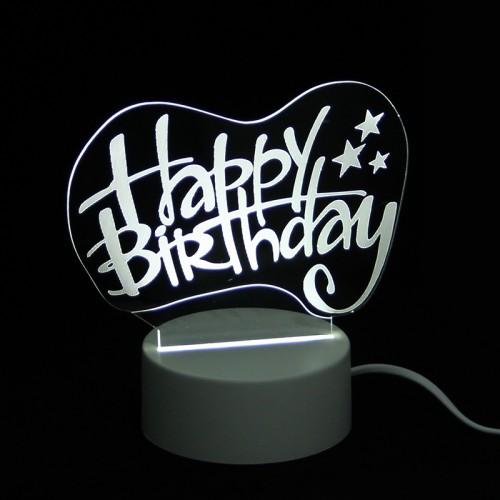 Επιτραπέζιο 3D Φωτιστικό LED σε Σχήμα Happy Birthday (Άσπρο)
