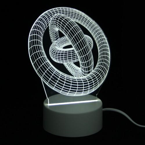 Επιτραπέζιο 3D Φωτιστικό LED σε Σχήμα Rings (Άσπρο)